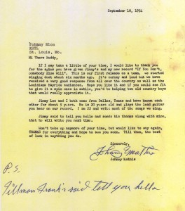 CJM letter to radio station 1954