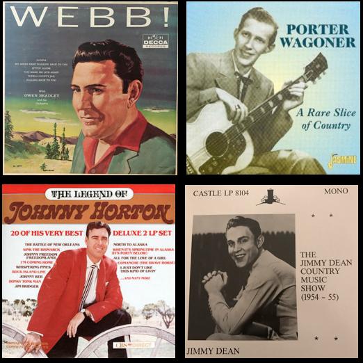 Webb Pierce, Porter Wagoner, Johnny Horton, Jimmy Dean, songwriter's hall of fame, country music albums, billboard album charts