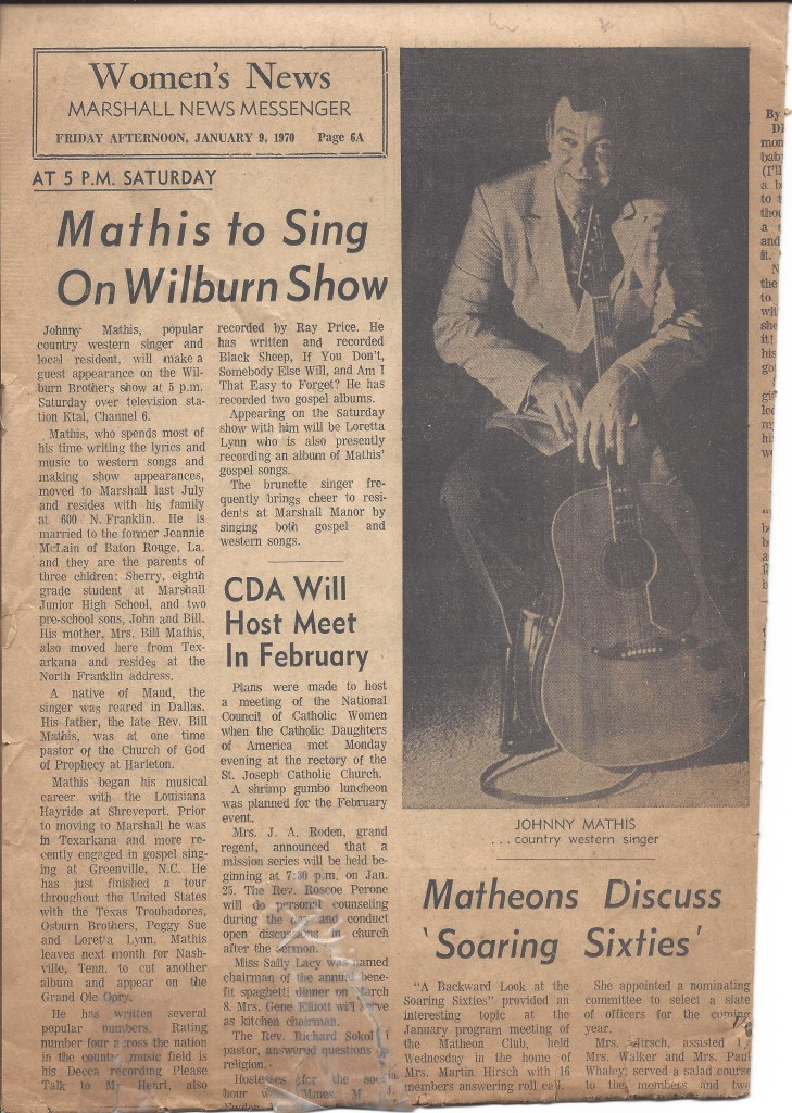 Newspaper article 'Mathis to Sing on Wilburn Brothers Show'