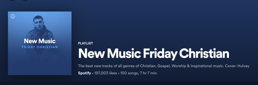 Spotify New Music Friday Christian playlist